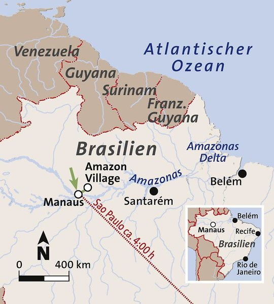 Amazon Village Jungle Lodge Landkarte